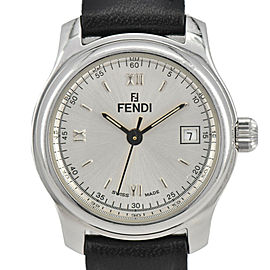 FENDI 210L Silver Dial Date SS/Leather Quartz Women's Watch