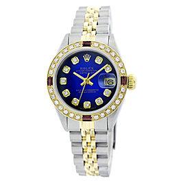 Rolex Lady Datejust Blue Vignette Diamond Dial and Bezel 26mm watch