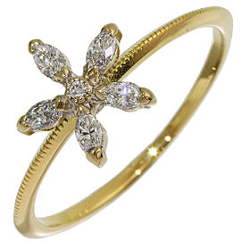 AHKAH 0.15ct Diamonds Flower Design Ring in 18K Yellow Gold US5.5