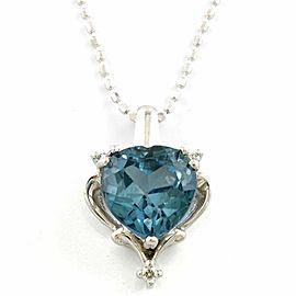 10K White Gold London Blue Topaz Necklace