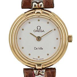 OMEGA De ville GP/Leather White Dial Quartz Ladies Watch