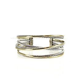 David Yurman Sterling Silver 18K Yellow Bonded Gold Crossover Cuff Bracelet