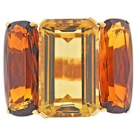 1950s Citrine Gold Large Cocktail Ring