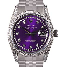 Rolex Datejust Stainless Steel Purple String Diamond Dial, Lugs & Bezel 36mm Mens Watch