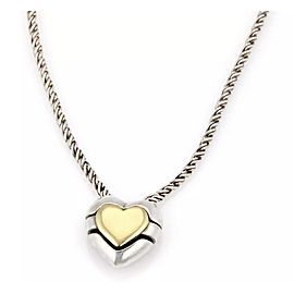 Tiffany & Co. Sterling Silver 18K Yellow Gold Heart Necklace