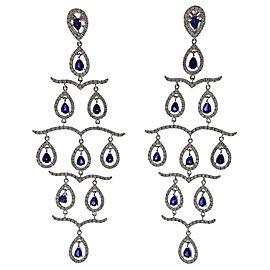 Gold Diamond Sapphire Chandelier Earrings