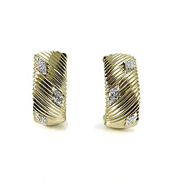 Roberto Coin 18K Yellow Gold .50tcw Diamond Semi Hoop Earrings