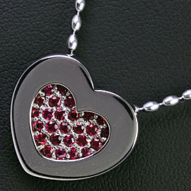 18k white Gold/Ruby heart Necklace
