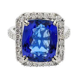 14K White Gold Tanzanite Diamond Ring Size 7.5