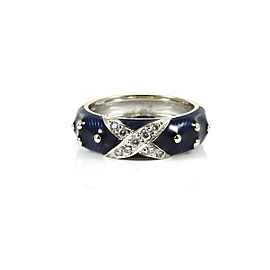 Hidalgo 18K White Gold .14tcw Navy Blue Diamond X Band