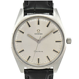 OMEGA Geneva Cal.601 Silver Dial SS/Leather Hand Winding Men's Watch