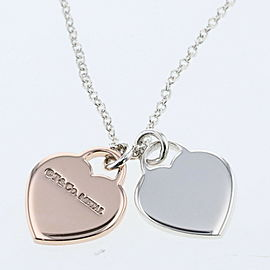 TIFFANY & Co Silver925 / Rubedo Metal Return to Double Heart Necklace TBRK-90