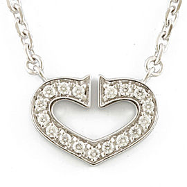 CARTIER 18K white gold Diamond C heart Necklace CHAT-247