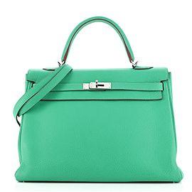 Hermes Kelly Handbag Menthe Clemence with Palladium Hardware 35