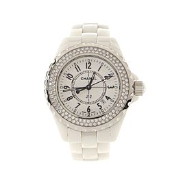 Chanel J12 Quartz Watch Ceramic and Stainless Steel with Diamond Bezel 33