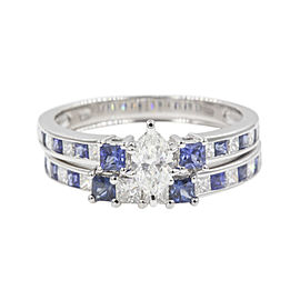 14K White Gold with 0.88ct Sapphire and Diamond Channel Bridal Ring Size 6