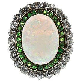 Edwardian Opal, Diamond and Demantoid Gold Ring