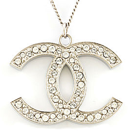 CHANEL Silver COCO Mark Rhinestone Long Necklace