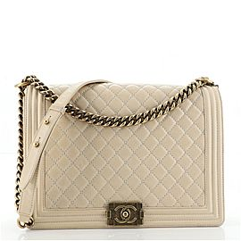 Chanel Boy Flap Bag Quilted Glazed Calfskin Large