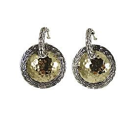 John Hardy 925 Sterling Silver and 22K Yellow Gold Palu Disc Hoop Earrings