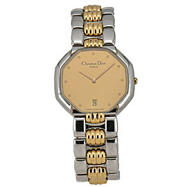 Christian Dior 45.204 Gold Dial SS/GP Date Quartz Men's Watch