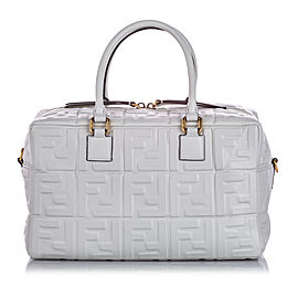 Zucca Embossed Leather Satchel