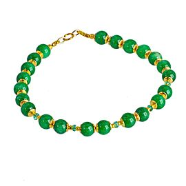 14K Yellow Gold with Green Jadeite Jade and 0.55ct Colombian Emerald Bracelet