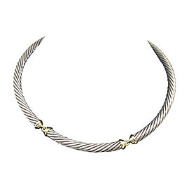 David Yurman Classic Sterling Silver and 14K Yellow Gold Collar Necklace