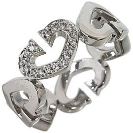 Cartier C Heart Diamonds Ring in 18K White Gold US6.25