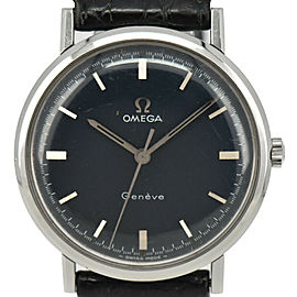 OMEGA Geneva Cal.601 Navy Dial SS/Laether Hand Winding Men's Watch