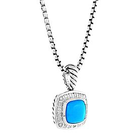 David Yurman Petite Albion Pendant Necklace with Turquoise and Diamonds