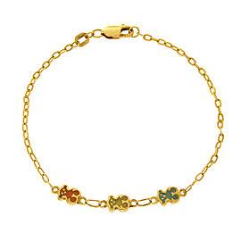 Tous 18K Yellew Gold & Enamel Bear Sweet Dolls Bracelet