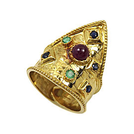 Ilias Lalaounis 18K Yellow Gold with Multicolor Gemstone Ring