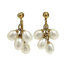 Mikimoto 18K Yellow Gold & Pearl Earrings