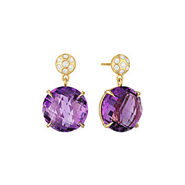 Amethyst and Diamond Post Drop Earrings