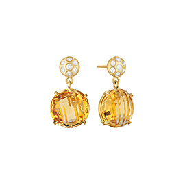 Orange Citrine and Diamond Post Drop Earrings