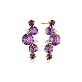 Amethyst, Rhodolite Garnet and Diamond Post Drop Waterfall Earrings With Articulation