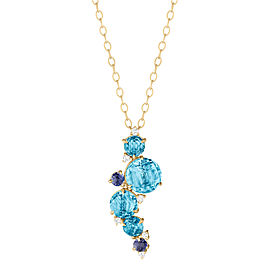 Blue Topaz, Iolite and Diamond Waterfall Cluster Pendant With Articulation 16""