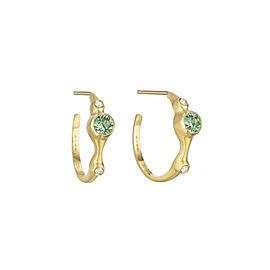 "Green Sapphire and Diamond 3/4"" Hoops"