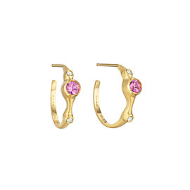 "Pink Sapphire and Diamond 3/4"" Hoops"
