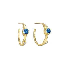"Blue Sapphire and Diamond 3/4"" Hoops"