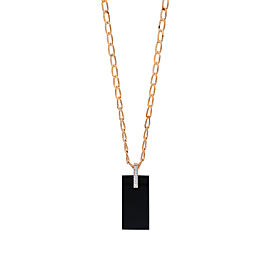 GINETTE NY 18K Rose Gold Onyx And Diamond Art Deco Necklace
