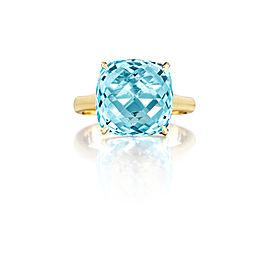 Cushion Cut Blue Topaz Signature Ring