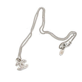 Chanel Classic Silver CC Rhinestone Necklace