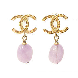 Chanel CC Gold Tone & Lavender Stone Dangle Piercing Earrings