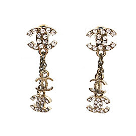 Chanel Gold-Tone Metal & Rhinestone Mini Dangle CC Earrings
