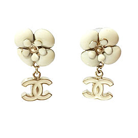 Chanel CC Ivory Camellia Dangle Piercing Earrings