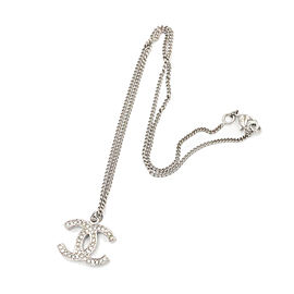 Chanel Silver CC Rhinestone Small Pendant Necklace