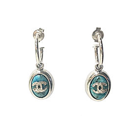 Chanel CC Sterling Silver & Turquoise Loop Piercing Earrings