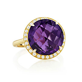 Amethyst and Diamond Halo Carey Ring
